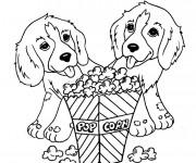 Coloriage et dessins gratuit Des Chiens Trop Mignons et Le Pop Corn à imprimer