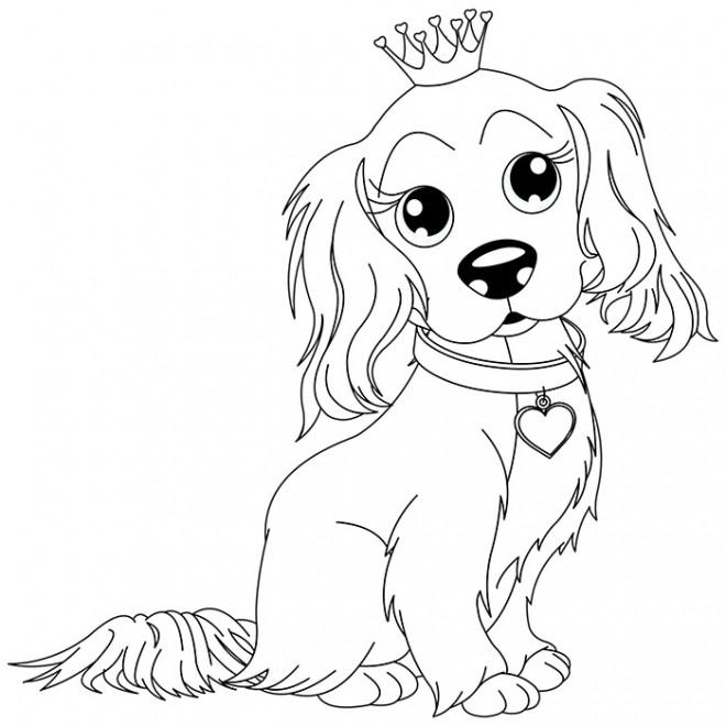 Coloriage un chien mignon portant la couronne dessin - Image des mignon ...