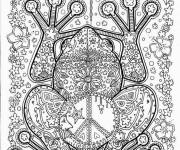 Coloriage et dessins gratuit Adulte Grenouille en noir à imprimer