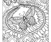 Coloriage Adulte Papillon mandala
