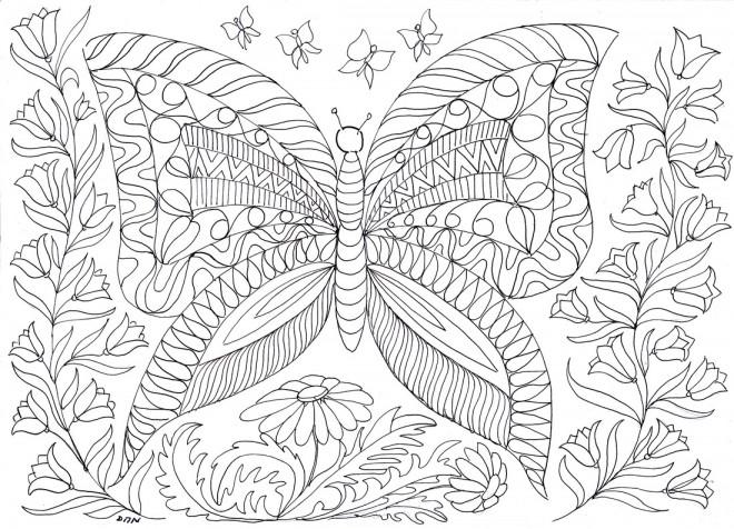 Coloriage et dessins gratuits Anti-Stress Papillons à imprimer