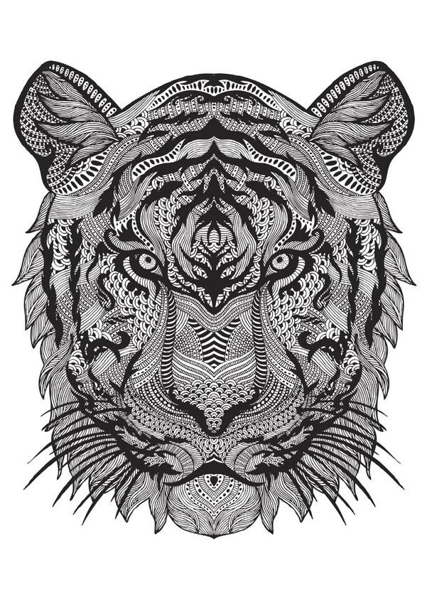 Coloriage et dessins gratuits Anti-Stress Zen Tigre à imprimer