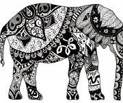 Coloriage Éléphant adulte colorié en noir
