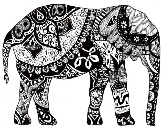 Coloriage Elephant Mandala A Imprimer Gratuit.Coloriage Elephant Adulte Colorie En Noir
