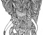Coloriage Éléphant Anti-Stress Mandala