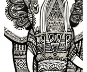 Coloriage Psychédélique éléphant