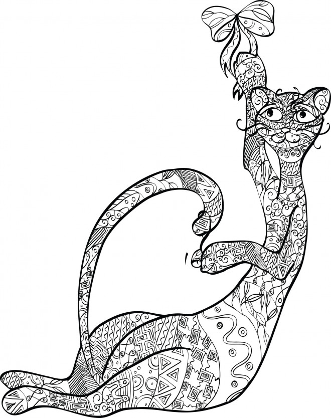 Coloriage zen chat en couleur dessin gratuit imprimer - Chat a colorier adulte ...