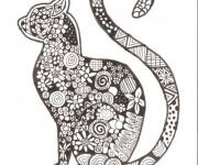 Coloriage Zen Chat en noir et blanc