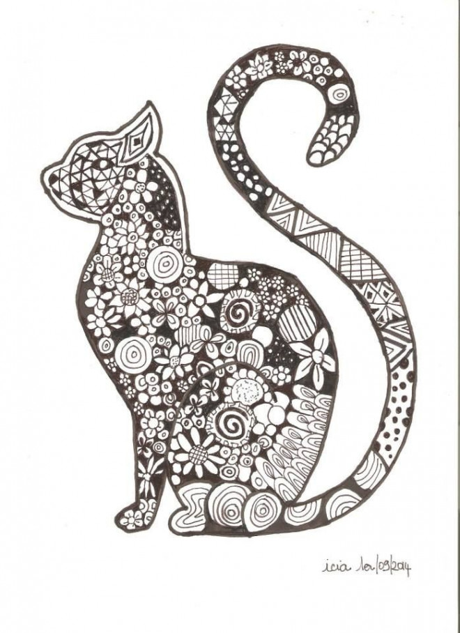 Coloriage zen chat en noir et blanc dessin gratuit imprimer - Dessin animaux noir et blanc ...
