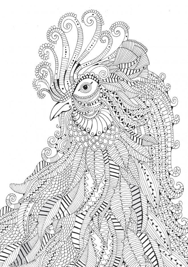 Coloriage zen coq maternelle dessin gratuit imprimer - Coloriage zen a imprimer ...