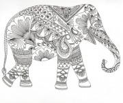 Coloriage Zen Éléphant stylisé