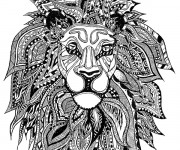 Coloriage Zen Lion Art