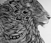 Coloriage Zen Lion Fantastique