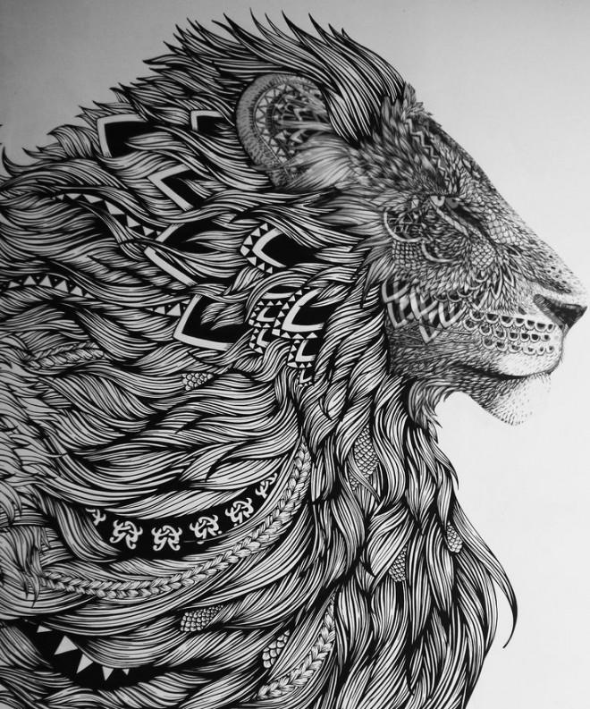Coloriage Zen Lion Fantastique Dessin Gratuit A Imprimer