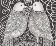 Coloriage Zen Oiseaux Amoureux
