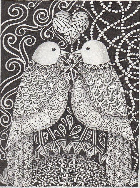 Coloriage et dessins gratuits Zen Oiseaux Amoureux à imprimer