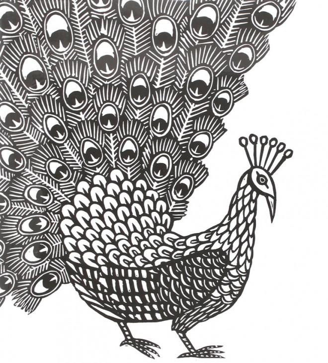 Coloriage et dessins gratuits Zen Paon en noir à imprimer