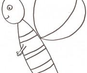 Coloriage Abeille au crayon enfant