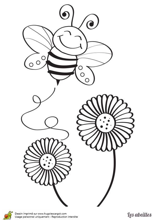 Coloriage et dessins gratuits Abeille contente à imprimer