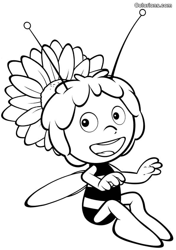 Coloriage et dessins gratuits Abeille dessin animé à imprimer