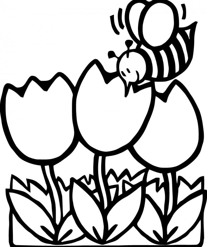 Coloriage et dessins gratuits Abeille en Printemps à imprimer