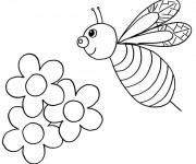 Coloriage et dessins gratuit Abeille et Fleurs en Printemps à imprimer