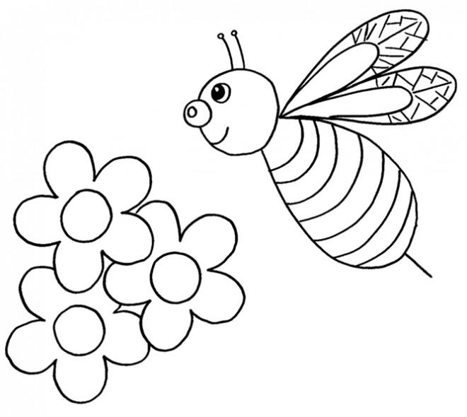 Coloriage et dessins gratuits Abeille et Fleurs en Printemps à imprimer