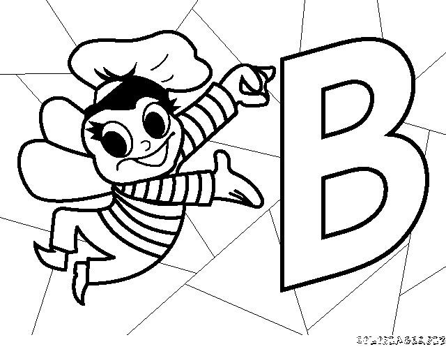 Coloriage et dessins gratuits Abeille et La Lettre B à imprimer