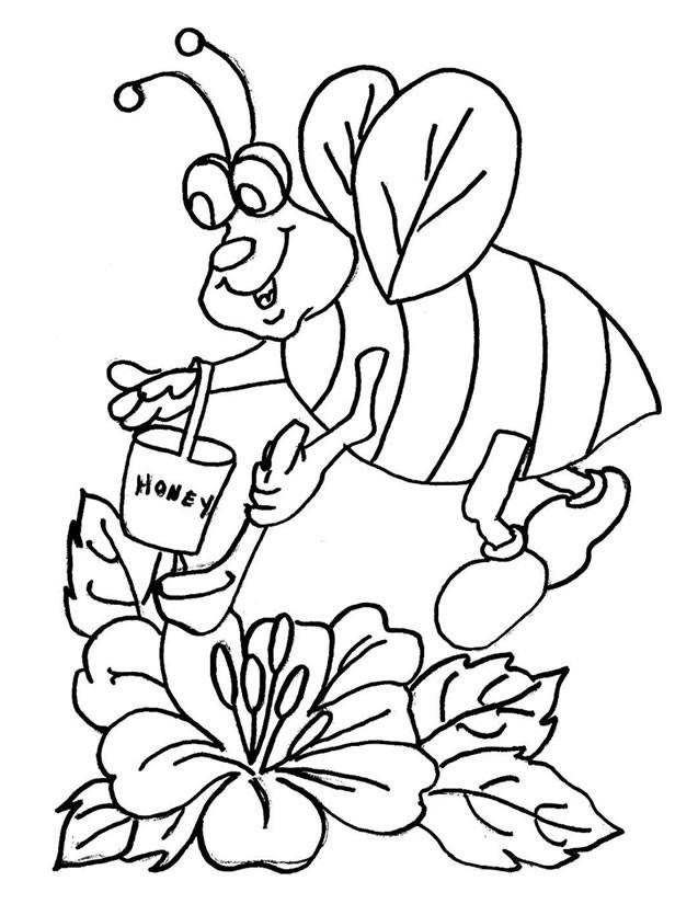 Coloriage et dessins gratuits Abeille et Miel en couleur à imprimer