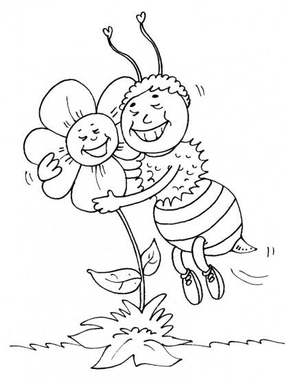 Coloriage et dessins gratuits Abeille et Rose en amour à imprimer