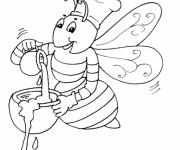 Coloriage Abeille prépare le Miel