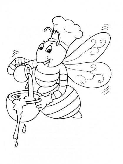 Coloriage et dessins gratuits Abeille prépare le Miel à imprimer