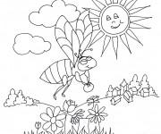 Coloriage et dessins gratuit Abeille sous le soleil à imprimer