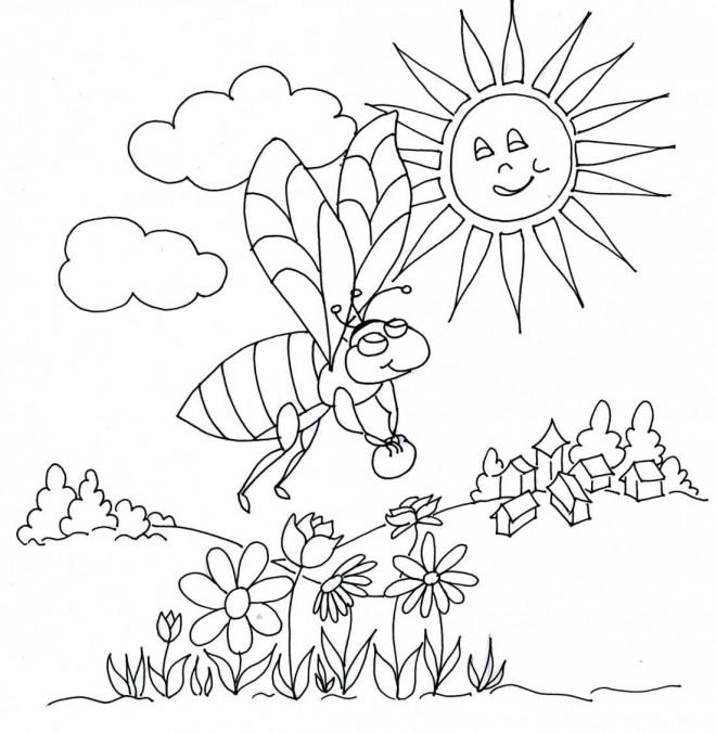 Coloriage et dessins gratuits Abeille sous le soleil à imprimer