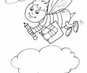 Coloriage et dessins gratuit Abeille va à l'école à imprimer