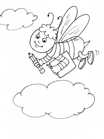Coloriage et dessins gratuits Abeille va à l'école à imprimer