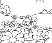 Coloriage et dessins gratuit Abeilles 2 à imprimer