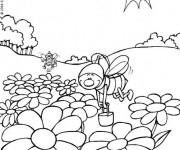 Coloriage et dessins gratuit Abeilles au travail à imprimer