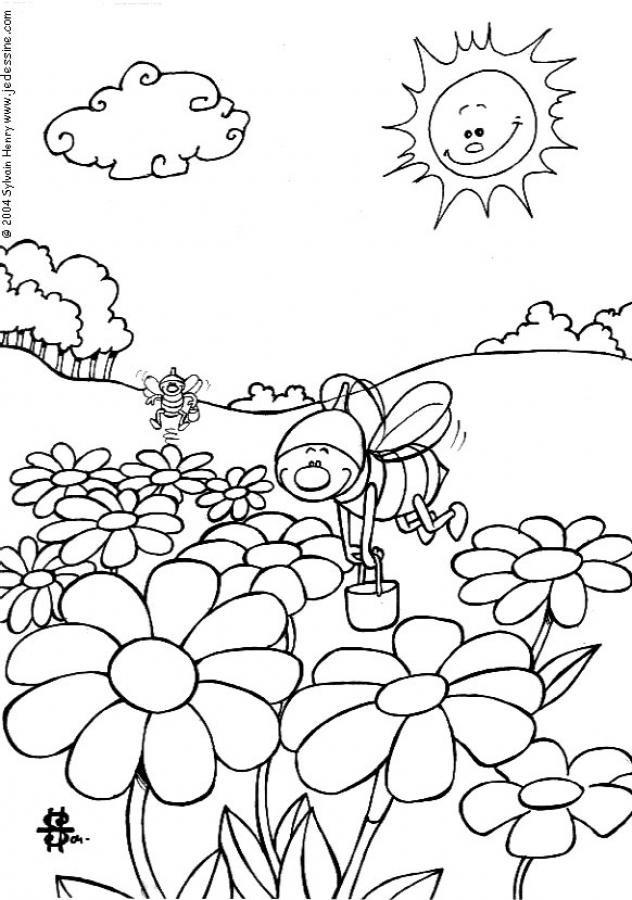 Coloriage et dessins gratuits Abeilles au travail à imprimer
