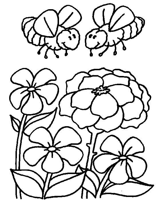 Coloriage et dessins gratuits Abeilles dans le jardin à imprimer