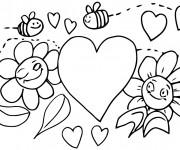 Coloriage et dessins gratuit Abeilles et coeur à imprimer