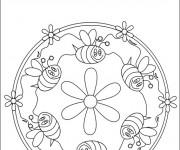 Coloriage et dessins gratuit Abeilles mandala à imprimer