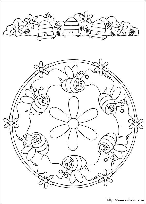 Coloriage et dessins gratuits Abeilles mandala à imprimer