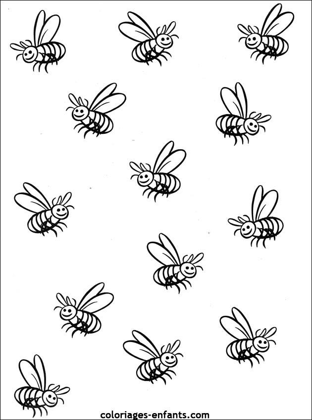 Coloriage et dessins gratuits Abeilles par tout à imprimer