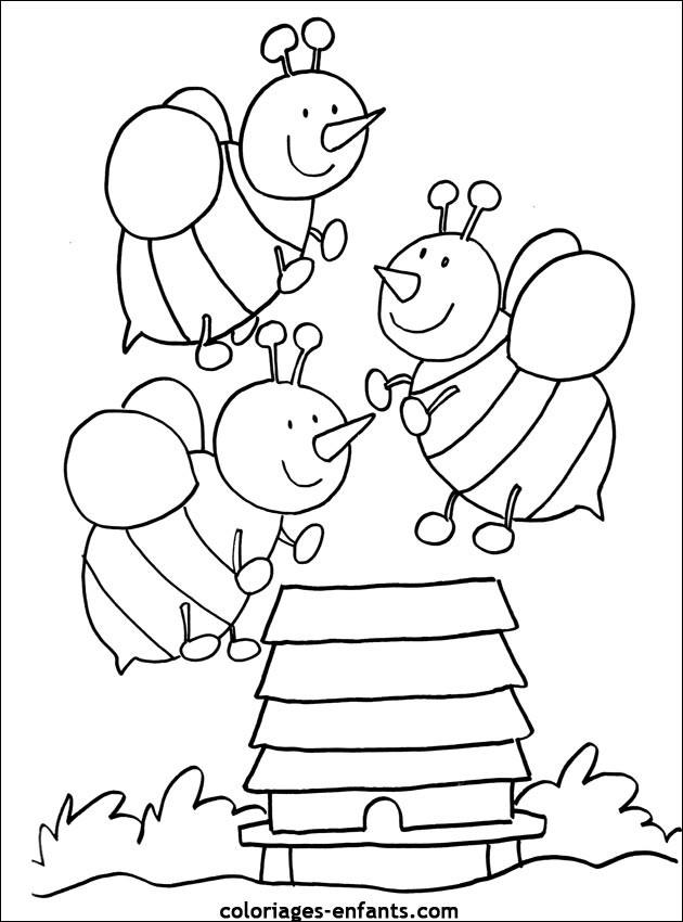 Coloriage et dessins gratuits Abeilles sur La Ruche à imprimer