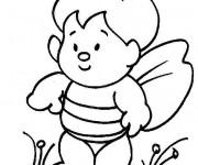 Coloriage Enfant en forme d'Abeille