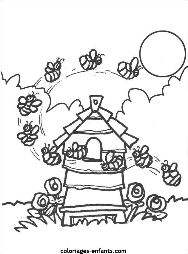 Coloriage et dessins gratuits Ruche d'Abeilles à imprimer