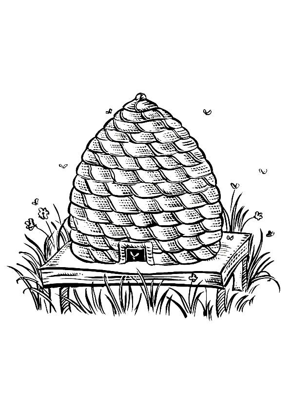Coloriage et dessins gratuits Ruche d'Abeilles au crayon à imprimer
