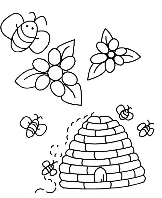 Coloriage et dessins gratuits Ruche d'Abeilles couleur à imprimer