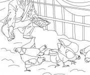 Coloriage et dessins gratuit Agriculteur dans sa ferme à imprimer